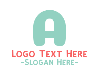 Coral - Turquoise Bold Letter A logo design