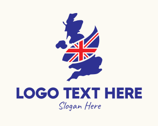 Travel - United Kingdom Map Flag logo design