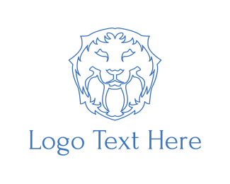 Elegant - Blue Lion Lines logo design