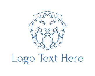 Lion - Blue Lion Lines logo design