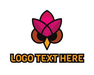 Green And Pink - Owl Lotus  logo design