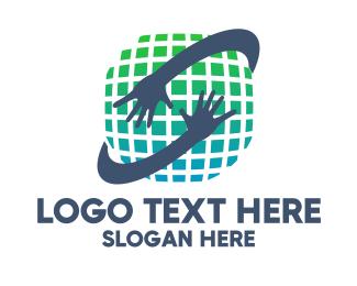 Bpo Industry - Pixel World Hands  logo design