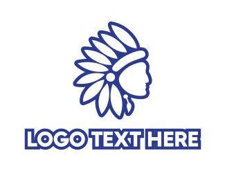 Cherokee - Blue Native American logo design