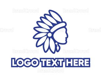 Ancestor - Blue Native American logo design