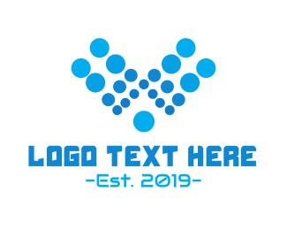 H2o - Aqua Letter V logo design