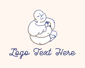 Fat - Buddha Praying Buddhist Religion logo design