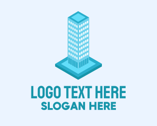 Construction - 3D Blue Skyscraper Building logo design