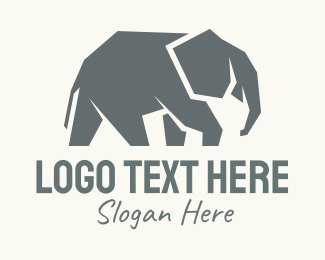Savannah - Wild Grey Elephant logo design