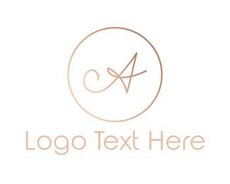 Delicate - Rose Gold Letter A logo design