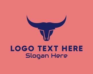 Wall St - Modern Cyber Bull logo design
