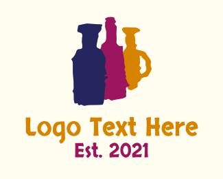 Alcohol - Painted Alcohol Bottles logo design