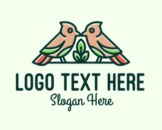 Lovebird - Bird Botanical Plant logo design