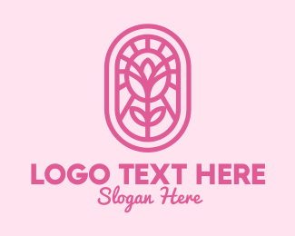 Pink Rose - Pink Flower logo design