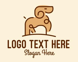 Sheep - Minimalist Ram Sheep  logo design