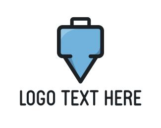 Suitcase - Suitcase Pin logo design