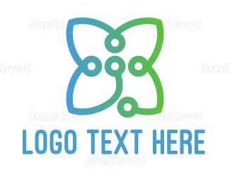 Salon - Circuit Flower logo design