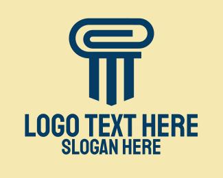 Office Supplies - Blue Paper Clip Pillar logo design