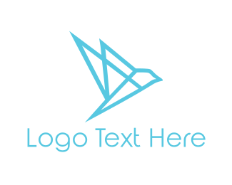 Geometric Blue Bird Logo