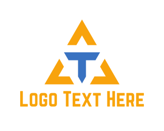 Blue And Yellow - Letter T Triangle  logo design