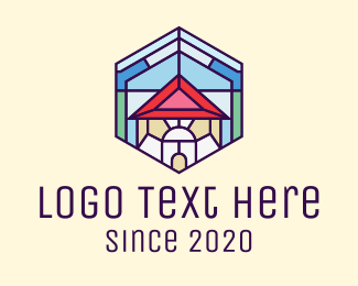 Country House - Stained Glass Home logo design
