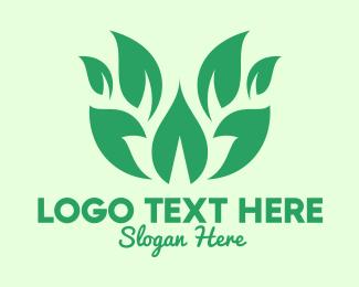 Palm Leaf - Green Organic Leaves logo design