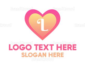 Beauty Store - Gradient Heart Lettermark logo design