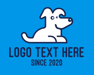 White Dog - Cute Pet White Dog logo design