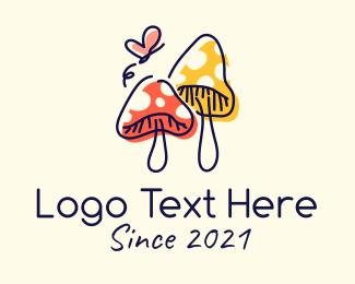 Mushroom - Cute Mushroom Cartoon logo design