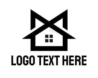 Mansion - Black M House logo design