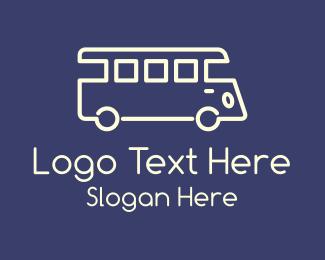 School Bus - White Monoline Bus logo design