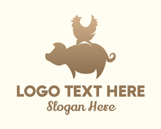 Hog Raising - Brown Pig & Rooster logo design