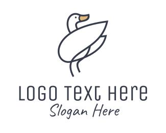Swan - Monoline Swan Bird logo design