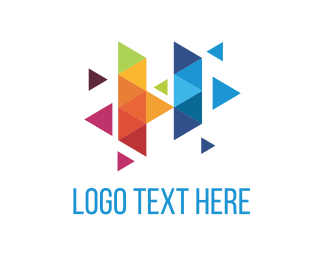 Audio - Colorful Triangles logo design