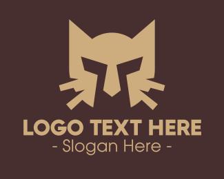 Brown - Brown Cat Helmet logo design