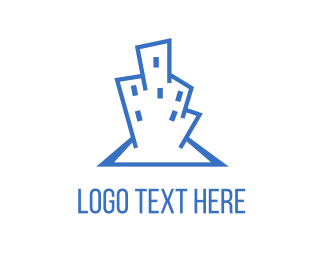 Tower - Abstract Blue Building logo design