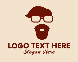 Brown Man - Hipster Guy  logo design