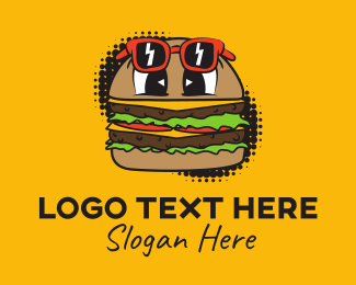 Halftone - Retro Pop Cartoon Burger logo design