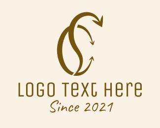 Sc - Coffee Bean Arrow logo design