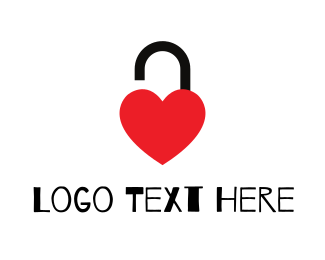 Unlock - Unlocked Red Heart logo design