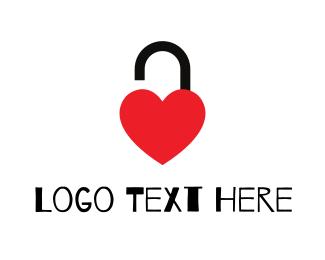 Lock - Unlocked Red Heart logo design