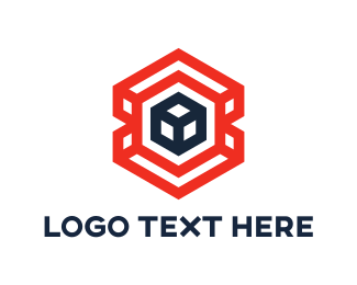 Gold Hexagon - Red Hexagon Cube  logo design