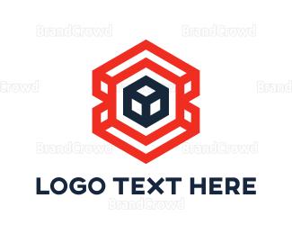 Dynamic - Red Hexagon Cube  logo design