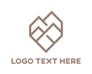 Platinum - Polygon Heart Shaped Mountain  logo design