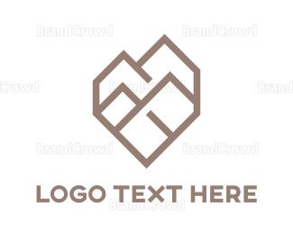 Resort - Polygon Heart Shaped Mountain  logo design