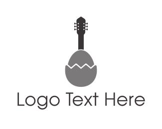 Acoustic - Egg Guitar logo design