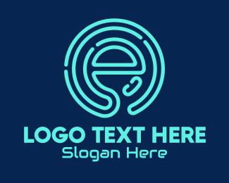 Business - Neon Tech Letter E  logo design