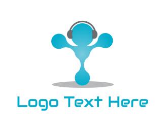 Listen - Headphone Man logo design