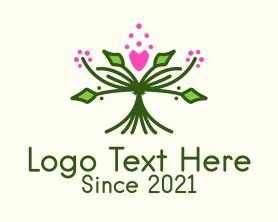Bouquet - Symmetrical Flower Bouquet logo design