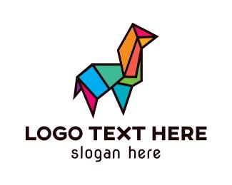 Agriculture - Mosaic Polygon Llama logo design
