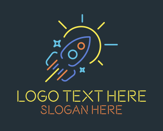 Solar System - Neon Rocket Sun Monoline logo design